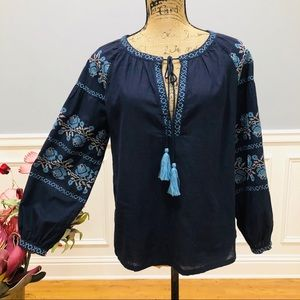 Cowgirl Legend Embroidered Boho Tassel Tie Top NWT